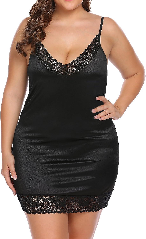 Women's Plus Size Chemise Sexy Deep V -Neck Lace Full Slip Adjustable Spaghetti Strap Lingerie Under Dress at  Women's Clothing store