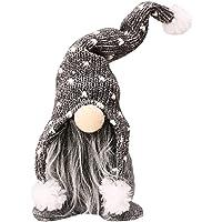 UHUYA Christmas Gnome Mini Plush Handmade Santa Cloth Doll Birthday Present for Home Christmas Holiday Decoration,Home Ornaments Tabletop Santa Figurines (Gray)