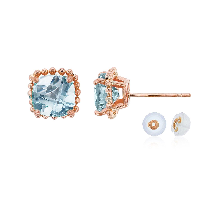14K Rose Gold 6x6mm Cushion Cut Aquamarine Bead Frame Stud Earring with Silicone Back