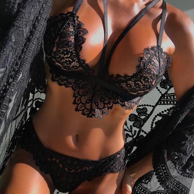 Amazon.com: Hot Sale!!Woaills Corset Lingerie Underwear Set,Women Lace Flowers Push Up Top Bra + Briefs (S, Black): Arts, Crafts & Sewing