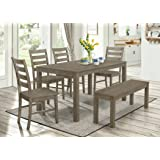 Amazon Com Metropolitan Black 6 Piece Dining Set With Table Bench