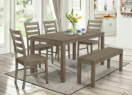 WE Furniture 6 Piece Homestead Wood Dining Set   Aged Grey