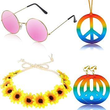 Howaf Hippie accesorios de disfraces para hombre y mujer Gafas Hippies Retro John Lennon Hippie 60s Signo de la paz collar Corona de Girasol Banda y Aretes