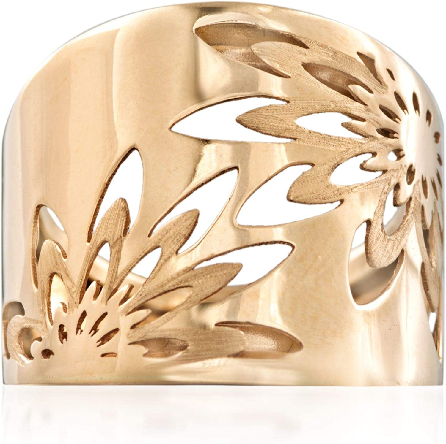 Ross-Simons Italian 14kt Yellow Gold Openwork Floral Ring For Women Made in Italy