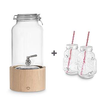 Dispensador de bebidas Greta 5 litros con grifo de acero inoxidable y soporte de madera de