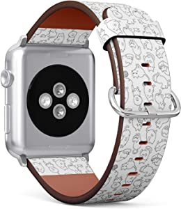 Compatible with Small Apple Watch 38mm & 40mm (All Series) Leather Watch Wrist Band Strap Bracelet with Stainless Steel Clasp and Adapters (Cute Cartoon Cat Icons)