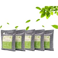 Air Purifying Bags Activated Bamboo Charcoal Bags for Home, Car, Closet, Bathroom, Basement, Litter Box, Shoe (5 Pack…
