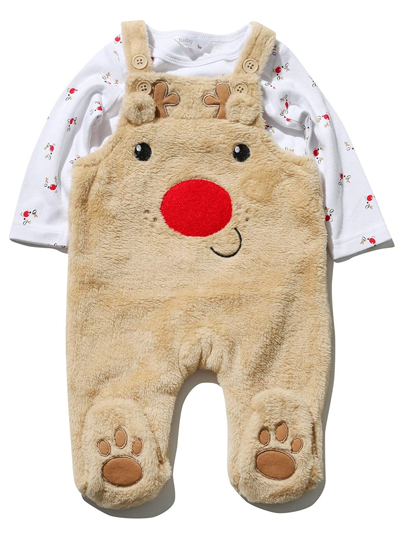 M&Co Baby Unisex Long Sleeve Top Fleece Reindeer Dungarees Christmas Clothing Set