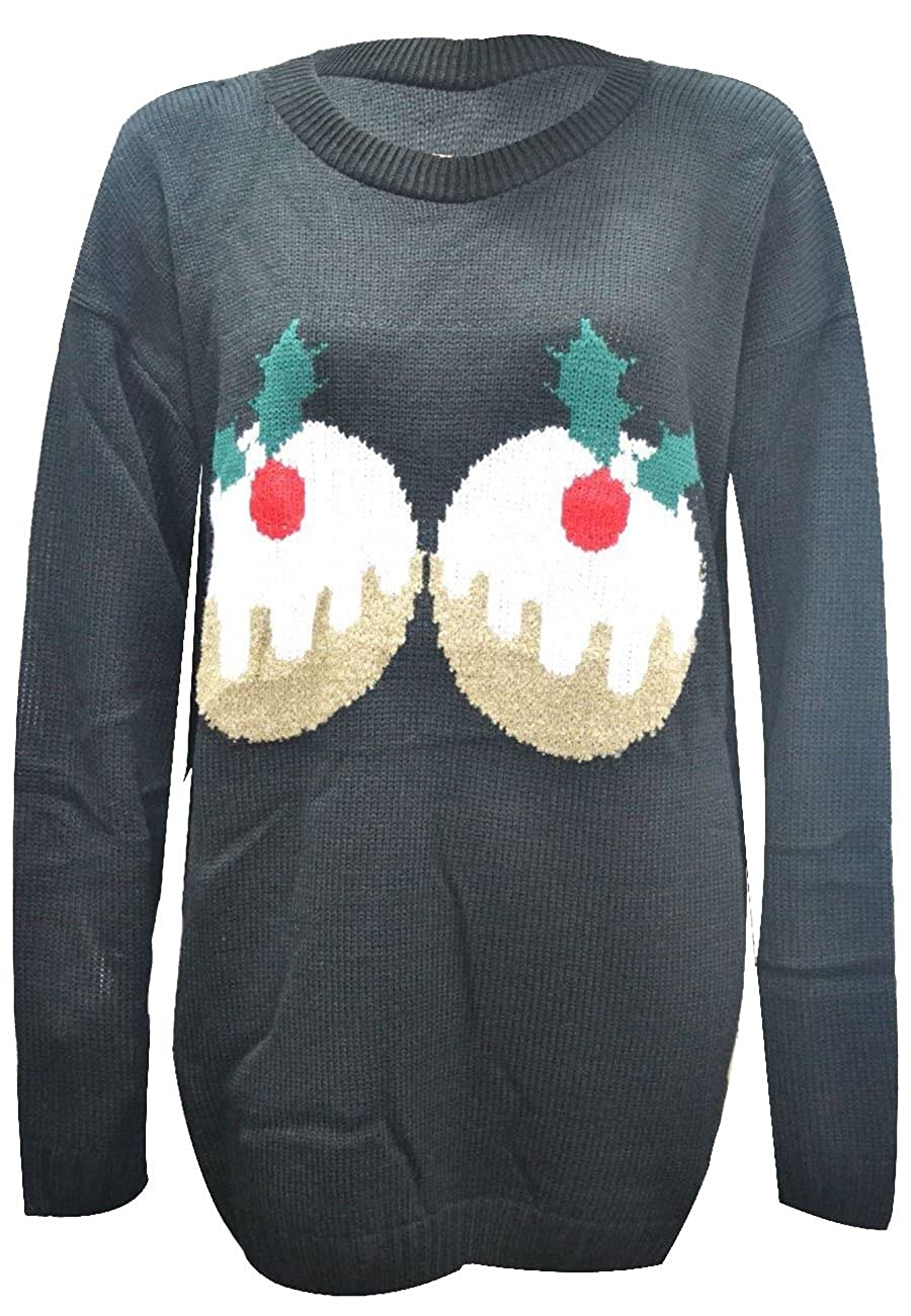 Womens Plus Size Christmas Pudding Long Sleeve Novelty Knitted Jumpers Tops S-2X