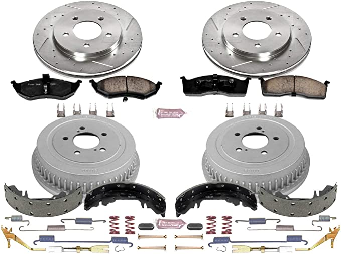 Rotor Drum and Shoe Kit Front and Rear Power Stop K15054DK Performance Pad