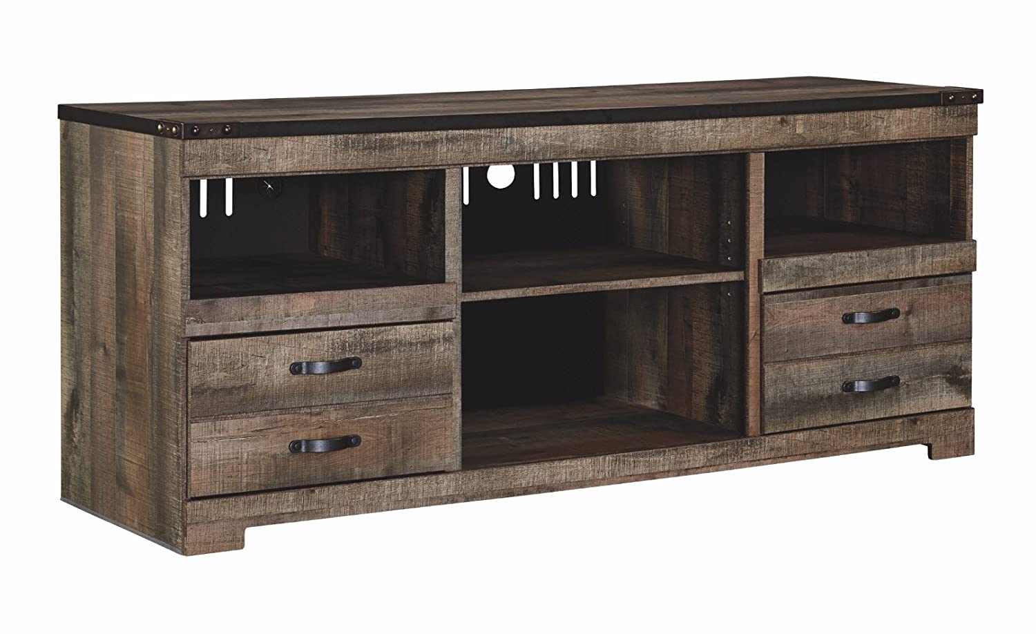 Ashley Furniture Signature Design – Trinell Large TV Stand – Rustic – 63 Inch – Fireplace Option – Brown