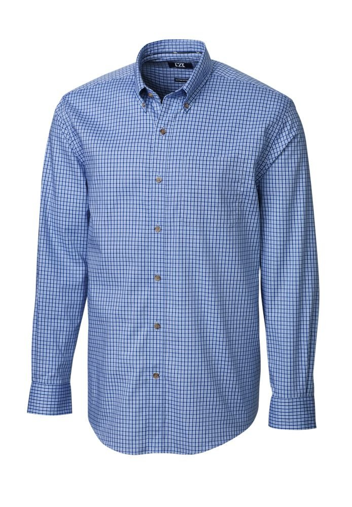 Cutter & Buck Men's Big-Tall Long Sleeve Richard Check Woven Shirt, Blue Gem, 5X/Big