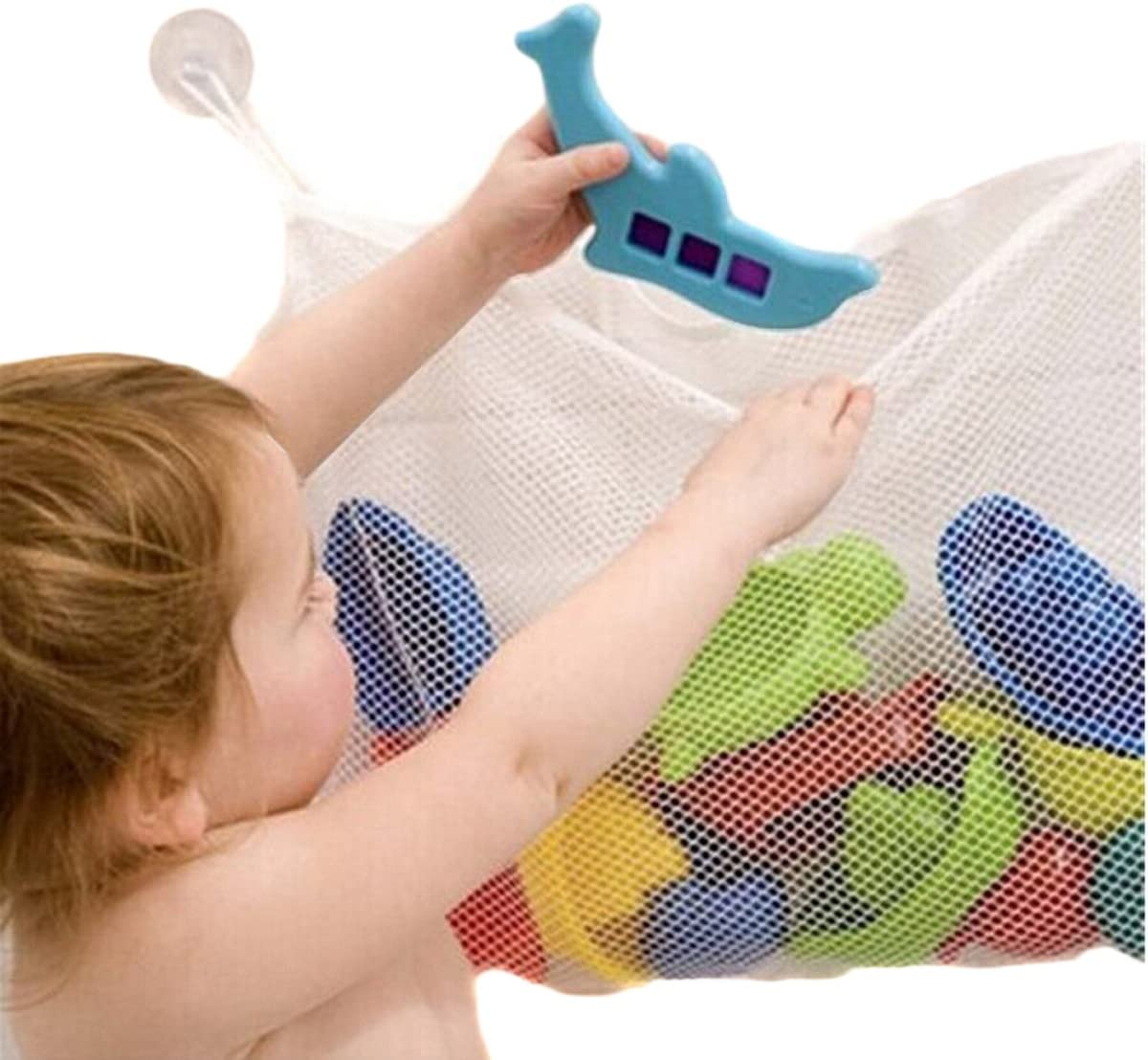 Sac de Maille pour des Jouets de Bain 17.7x13IN JUNSHEN Rangement pour Jouets de Bain avec 4 ventouses,Bath Toys Organizer,Organisateur Lavable Multifonctionnel de Jouets de Bain de Maille
