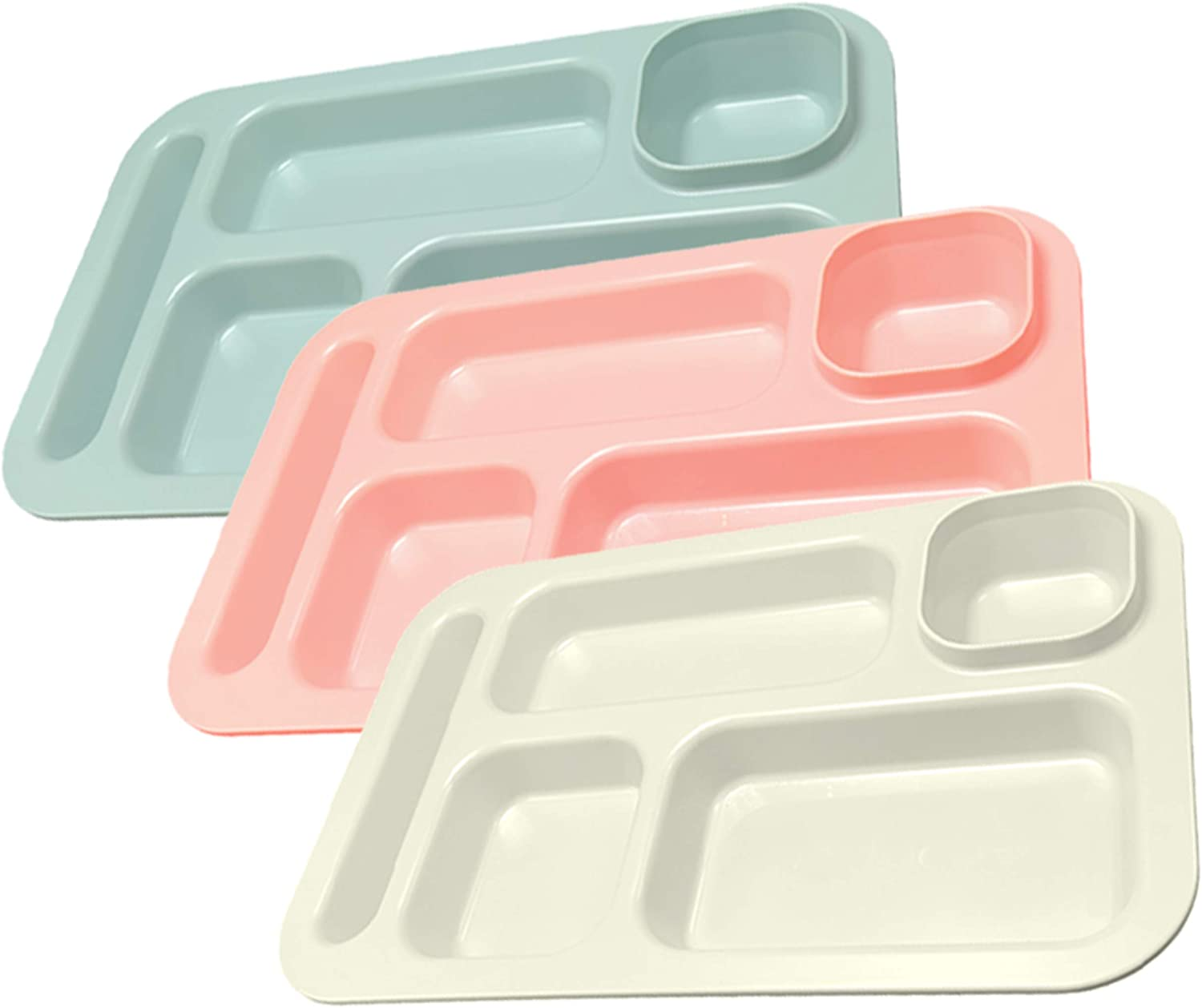 Happy Starla - Made in USA -Large Plastic Divided Plates for Adults, School Lunch Trays for Kids Fast Food Trays Cafeteria Trays with Compartments Strong Durable! 15.25