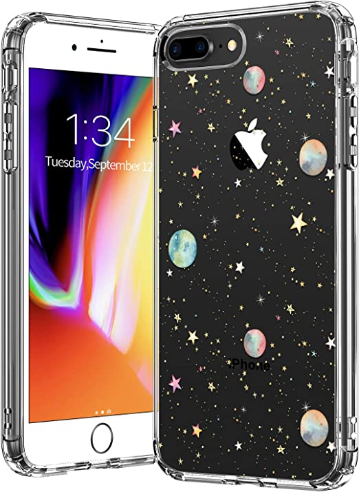 BICOL iPhone 8 Plus/iPhone 7 Plus Case,Planets Pattern Clear Design Transparent Plastic Hard Back Case with TPU Bumper Protective Case Cover for Apple ...
