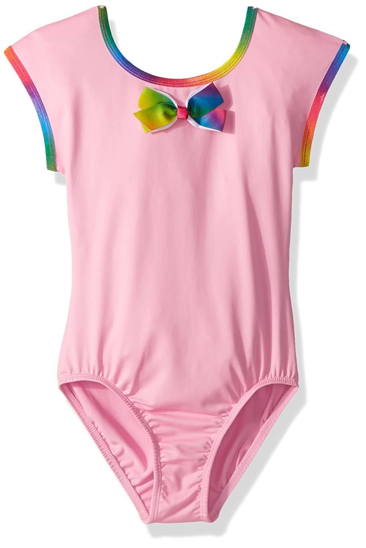 Jojo Siwa By Danskin Girls' Big Rainbow Bows Short Sleeve Leotard, -