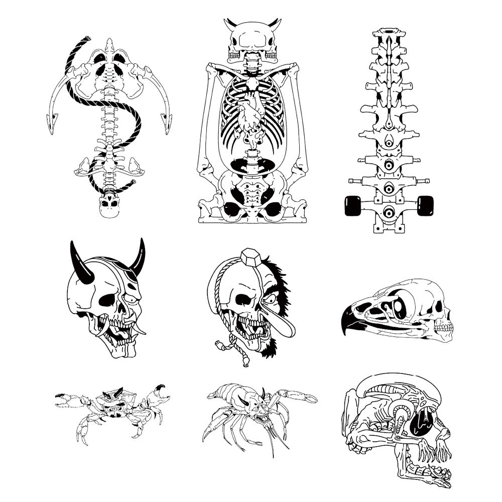 8 Original Design Temporary Tattoos by Inktells-Updated 2020-Animal Skull,Skull,Mantis tattoo for Men and Boys |fake tattoos for neck,back,hand and forearm (2 sheets)