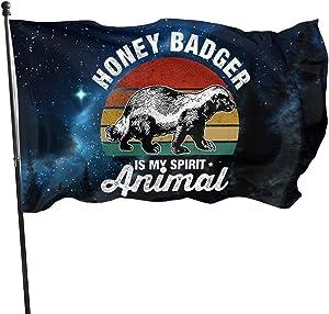 BettiCharm My Spirit Animal is Honey Badger Flag 3x5 Feet Tough Durable Colorfast Flag Indoor/Outdoor Polyester Flag Garden Office Flag Decorate Bunting