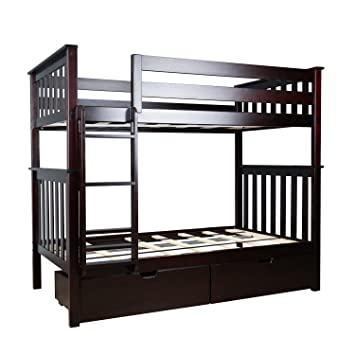 Amazon.com: Max U0026 Lily Solid Wood Twin Over Twin Bunk Bed With Under Bed  Storage Drawers, Espresso: Kitchen U0026 Dining