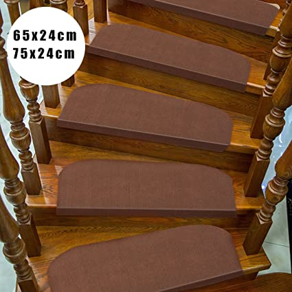 Veena 15Pcs 256034X94034 65X24Cm 515Pcs Brown Stair Tread Mat Household Carpet Staircase Pad Nonslip Step Rug
