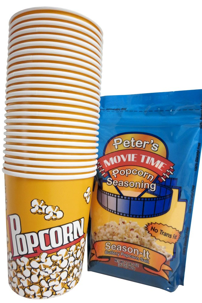 Popcorn Duo: 32oz Popcorn Cups 25 Count, 35oz Movie Time Buttery Salt