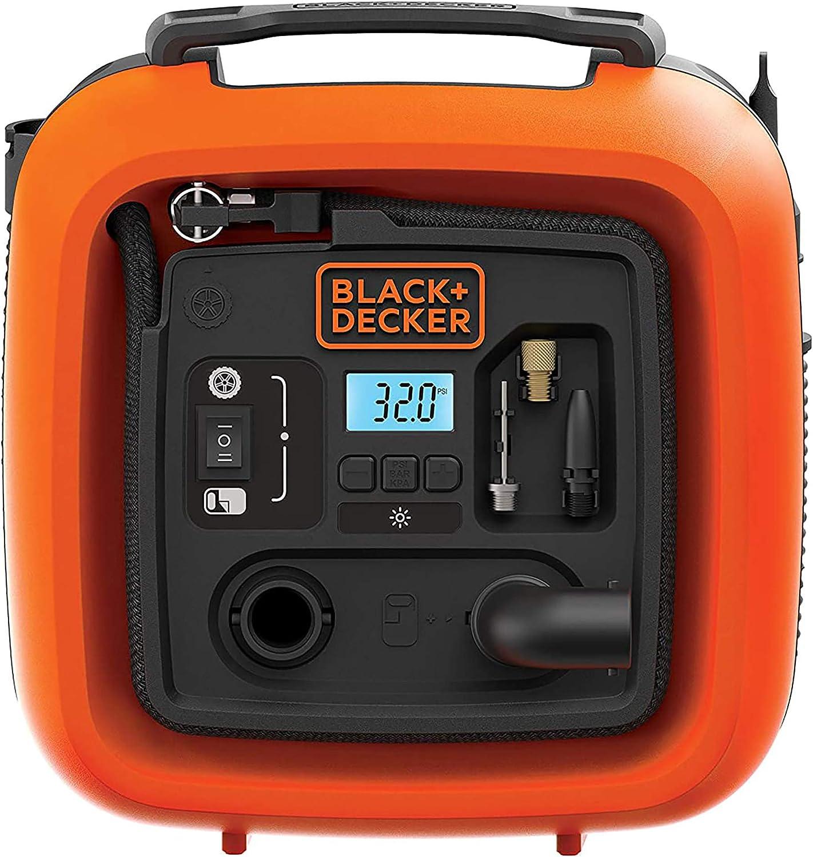 Black+Decker 11.0Bomba de Aire Compresor/Bar/12V, 160psi, para neumáticos, Pelotas, sillas de Ruedas, etc, con 2Modos de Funcionamiento y AbPUMP de Modo, asi400, 0W, 12V