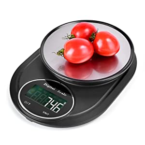 Cliusnra Digital Food Kitchen Scale: Black Mini Compact Carry Electronic Waterproof Multifunction Stainless 0.1g Calculator Weight Foodscale Baking Cooking Measuring Grams Pounds Ounces Scale