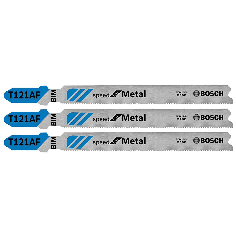 Bosch T121AF3 3-Piece 3-5/8 In. 21 TPI Speed for Metal T-Shank Jig Saw Blades