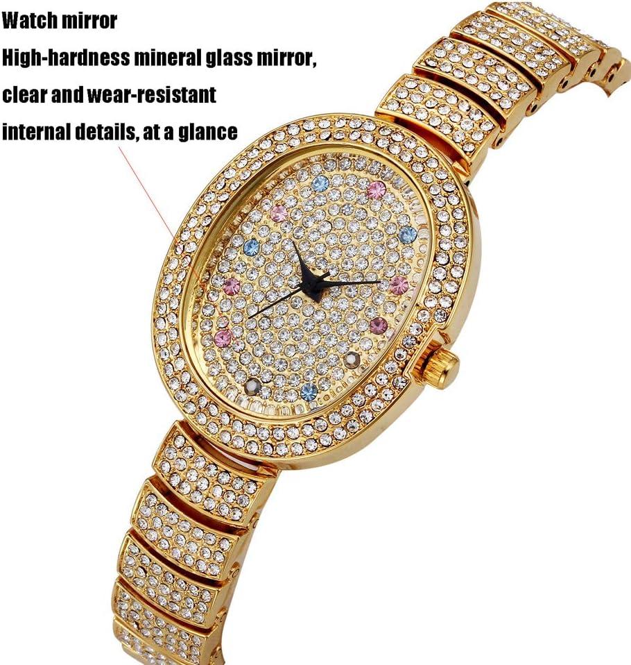 Orologio da donna al quarzo, cinturino in acciaio impermeabile con diamanti, orologio non meccanico da tavolo per feste oro argento regalo Oro.