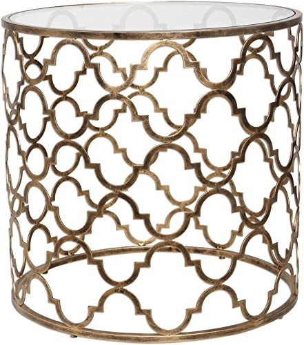 MY SWANKY HOME Open Gold Iron Quatrefoil Accent End Table