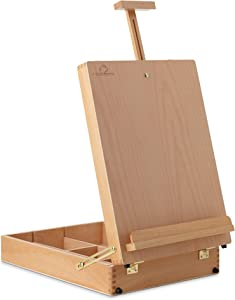 7 Elements Beechwood Large Desktop Table Sketchbox Easel for Art, Painting and Drawing, Portable with Storage