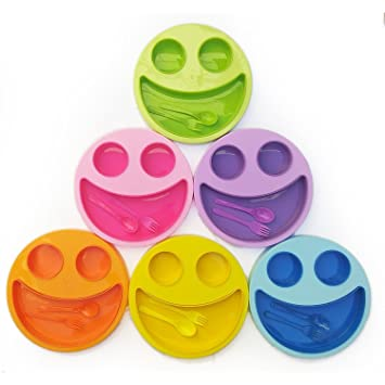 Shopkooky Multicolor Cute Big Smiley Plates For Kids With Fork And Spoon Return Gifts Birthday In Bulk Pack Of 6 Amazonin Toys Games