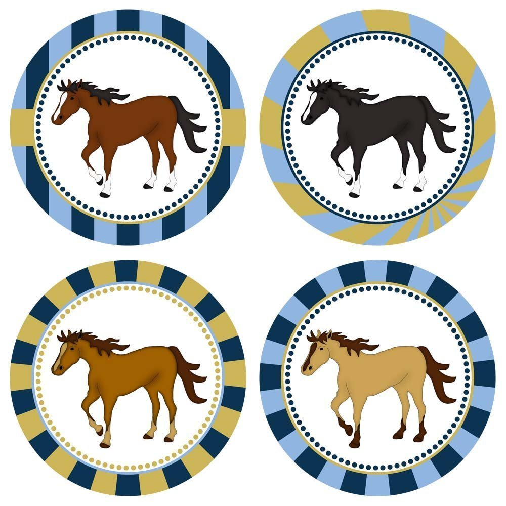 Horse Sticker Labels - Birthday Baby Shower Racing Event Party Supplies - Set of 50