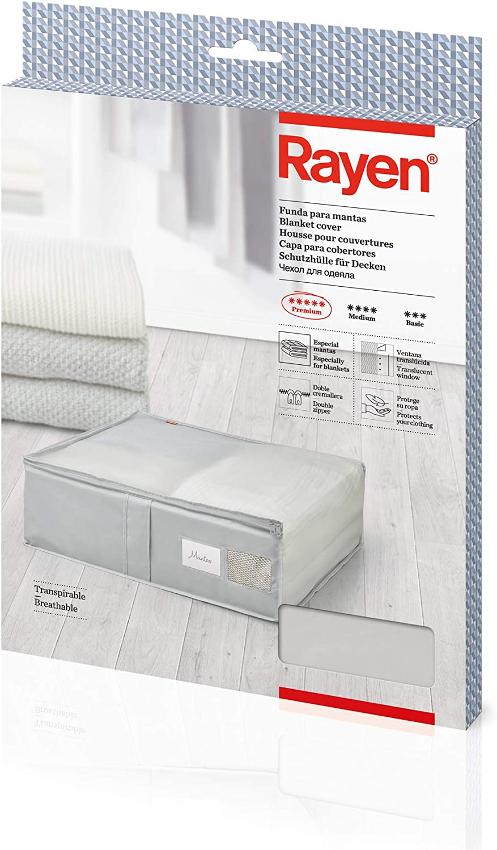 Rayen - Caja de almacenaje de ropa y mantas de cama. Bolsa de tela para ropa con cremallera, rejilla transpirable, plegable y resistente. 55 x 65 x 20 cm. Gris Claro/Translúcido