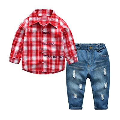 ANNA Judy Kids Boys Casual Long Sleeve Plaid Shirt and Ripped Jeans Clothing Sets (Red, 100/3years)