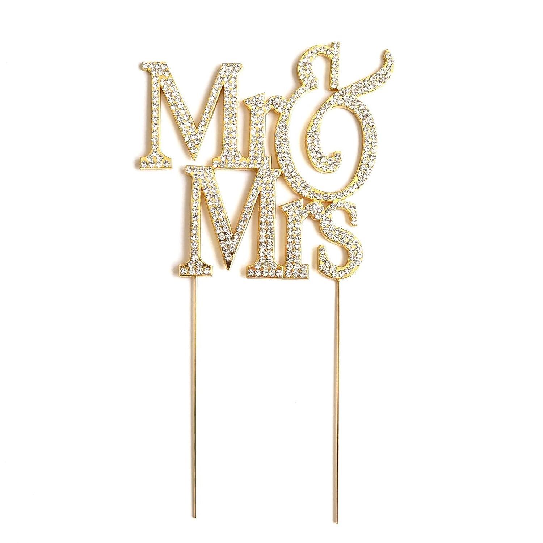 Amazon.com: Mr & Mrs Gold-plated Monogram Silhouette Rhinestone ...
