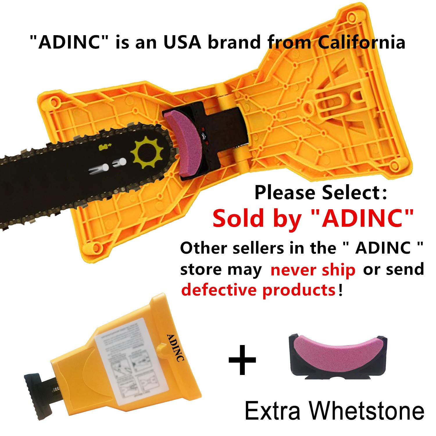 ADINC Chainsaw Sharpener Universal Chain Saw Blade Sharpener Fast Sharpening Stone Grinder Tools Bar Mounted Chainsaw Teeth Sharpener Fit for 14/16/18/20 Inch Two Holes Chain Saw Bar by ADINC