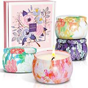 STRN Scented Candles Gift Set, Soy Wax Candles, Aromatherapy Candles 4.4ozX4 Pack, Tin Candles, Blush Peony,Lavender,Cinnamon Apple, Cherry Blossom, Candles Gift Set for Mother's Day and Father's Day