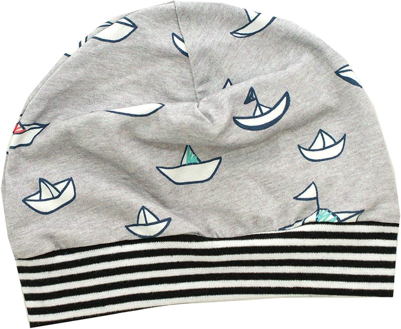 Kleine K/önige M/ütze Baby Jungen Beanie /· Mitwachs-Funktion /· Modell Boote Lottle Boat hellgrau Marine-wei/ß /· /Ökotex 100 Zertifiziert /· Gr/ö/ßen 50-128