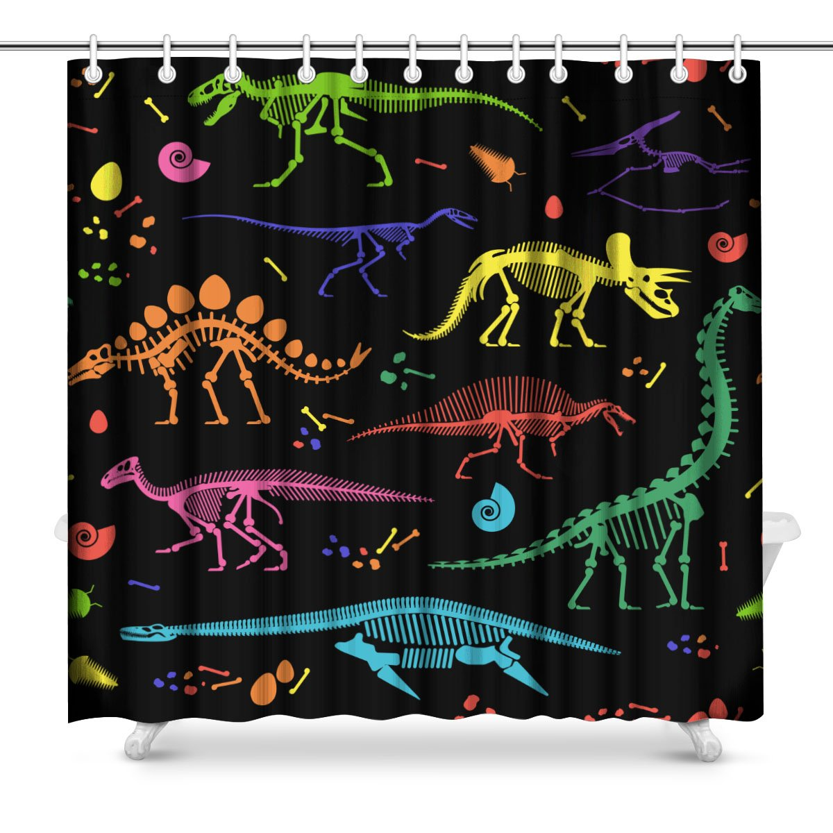 InterestPrint Skeletons of Dinosaurs and Fossils Art Decor Print Bathroom Shower Curtain Decorations Fabric Extra Long 72 Inches