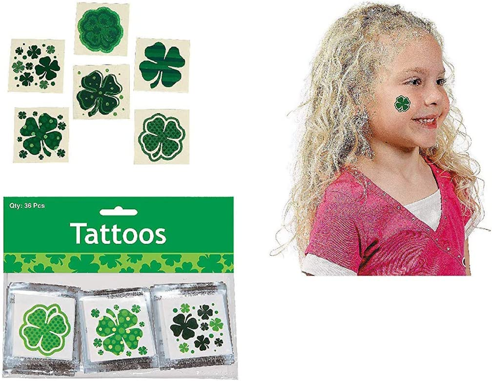 Patrick/'s Day Temporary Tattoos Irish Shamrock Clover Stickers Party Favors Gifts Orgrimmar 72 Pcs St
