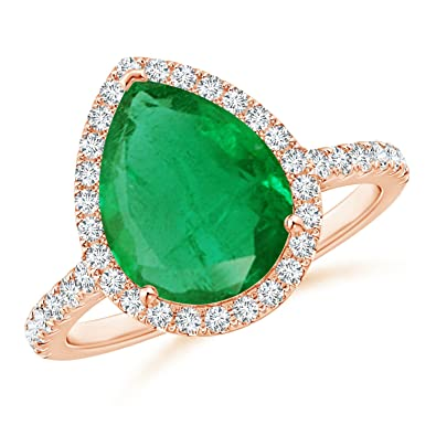 Angara GIA Certified Oval Emerald Crossover Shank Halo Ring sryp7lY