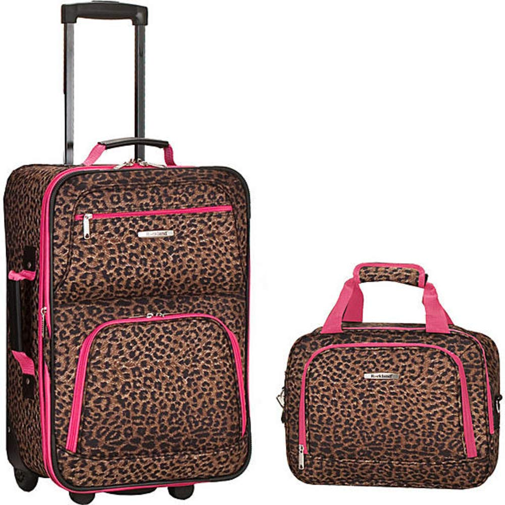 Rockland 2 PC LUGGAGE SET PINKLEOPARD