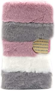 iPhone 7 Furry Flip Wallet Case Pink Gray Strip, iPhone 8 Fluffy PU Leather Magnetic Wallet Case with Card Holder & Stand