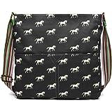 Miss Lulu Messenger Bag School Bag Crossbody Satchel Shoulder Bag for Women Girls with Polka Dots Flower Horse Patterns