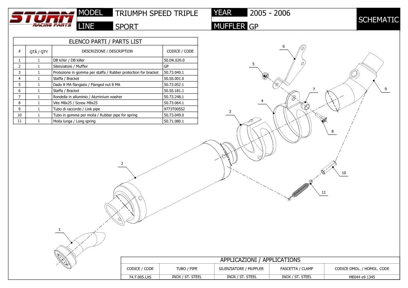 74.T.005.LXSB Auspuff Storm by Mivv Schalldampfer Gp Nero Speed Triple 2005 05