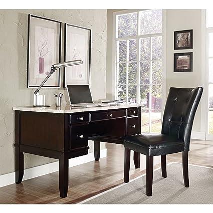 Monarch Marble Top Desk   52u0026quot;W White Marble Veneer Top/Dark Cherry  Veneer