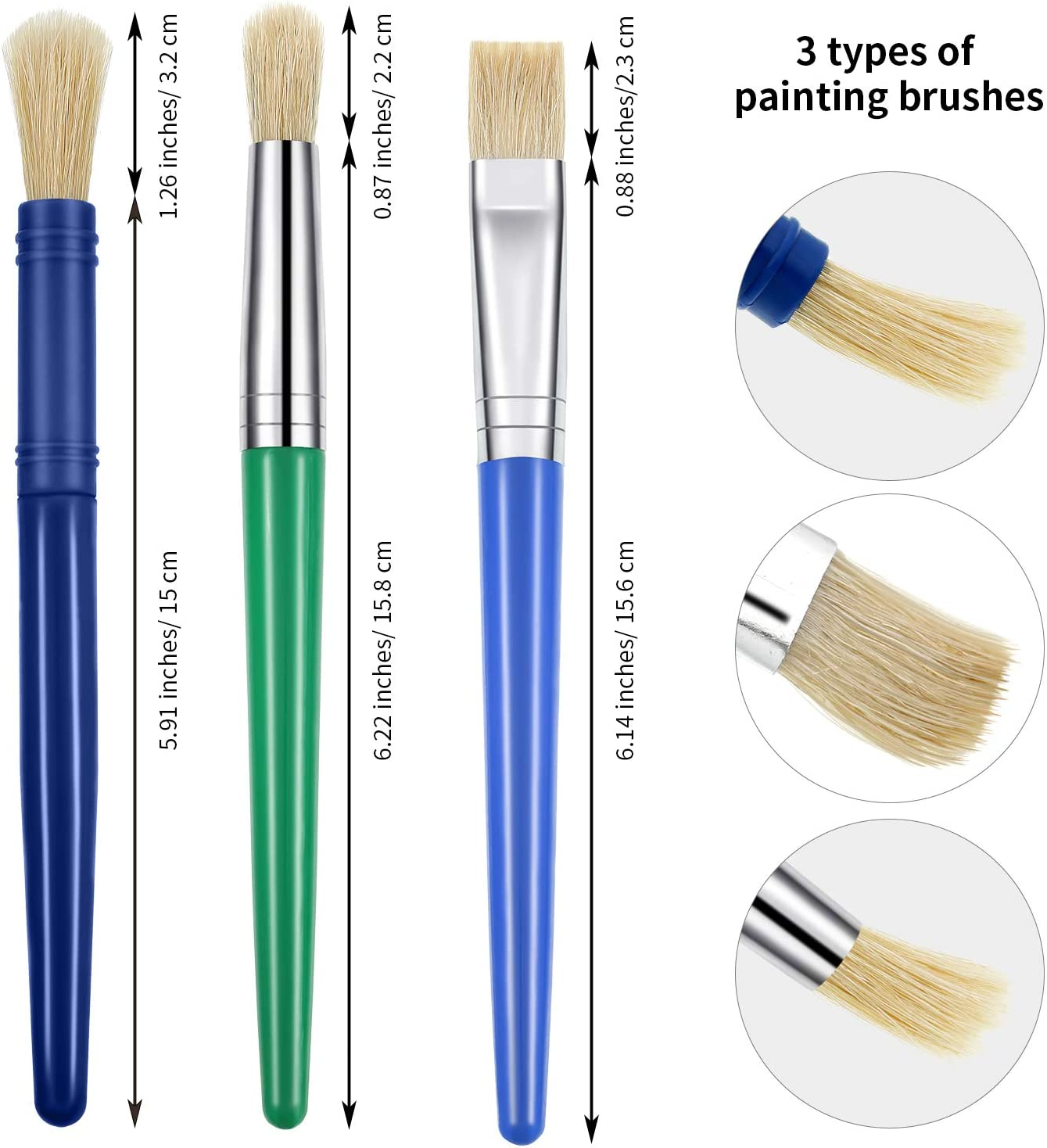 Outus 26 Pieces Hog Bristle Paint Brushes Round Flat Paint Brushes for School Home Painting Supplies Assorted Colors