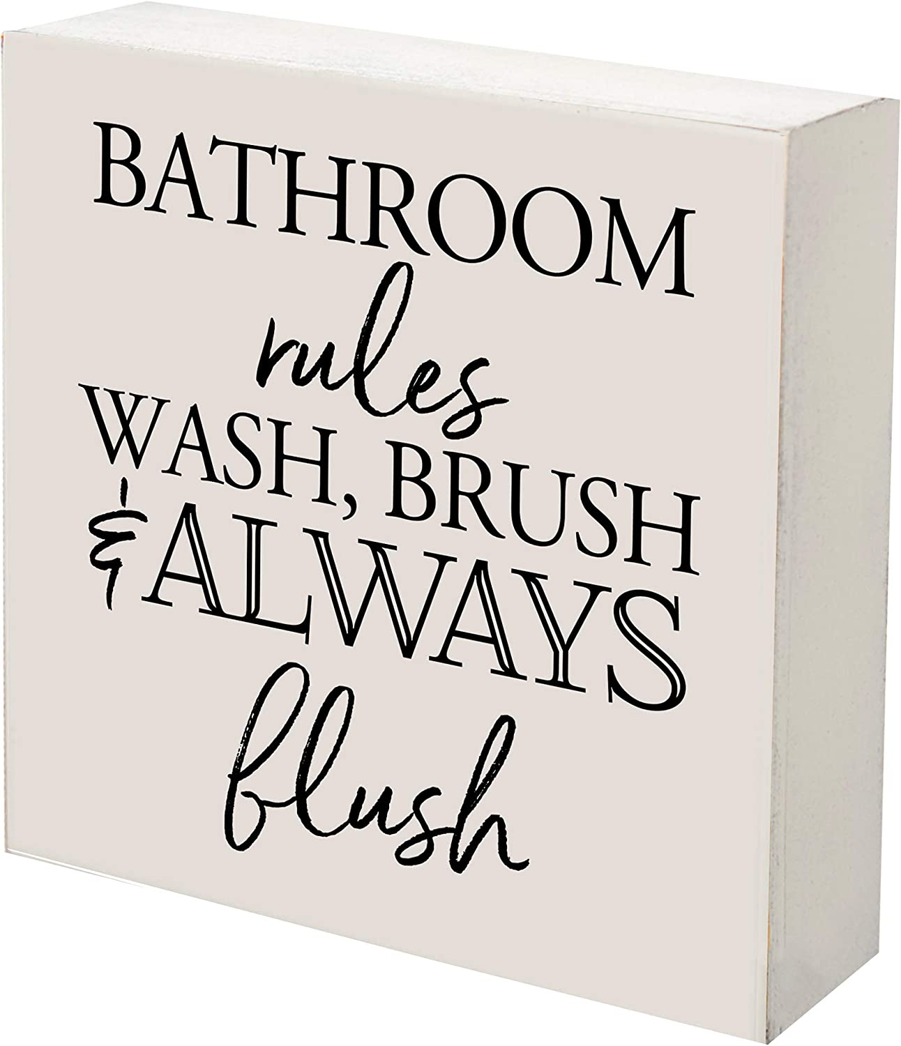 LifeSong Milestones Cute Farmhouse Bathroom Signs Rustic Wooden Box Sign-Bath Signs for Bathroom Decor Funny Quotes for Men Women-Modern Bathroom Wall Art Hanging Decorations Wash,Brush Flush(White)