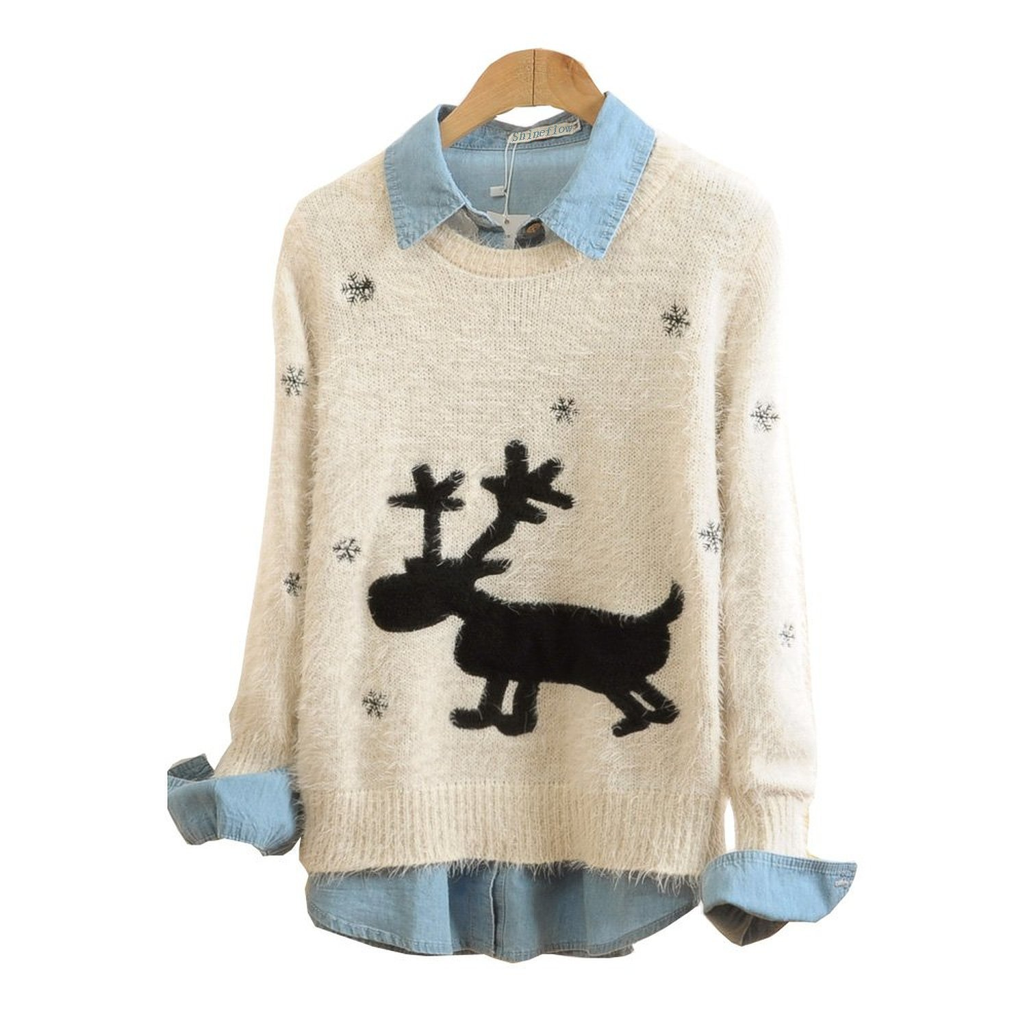 Shineflow Christmas Sweater Rudolph Reindeer in Snow Sweatshirt Limited Edition 2014